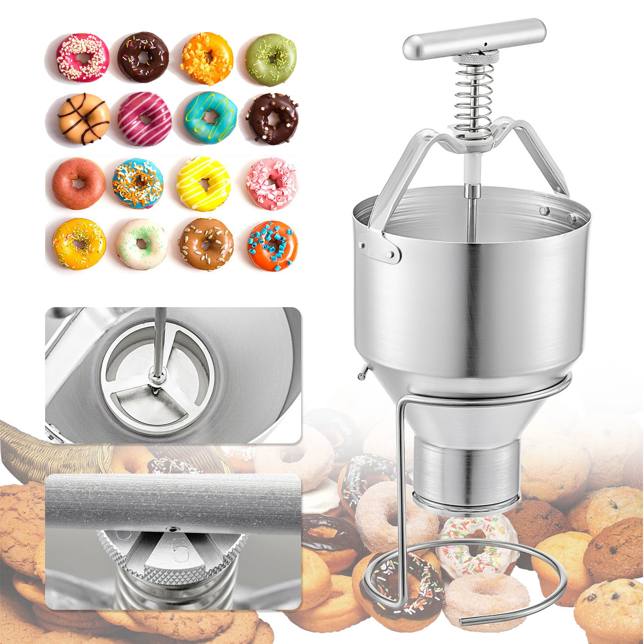Manual Donut Depositor Dropper Plunger Dough Batter Dispenser Hopper Maker UK