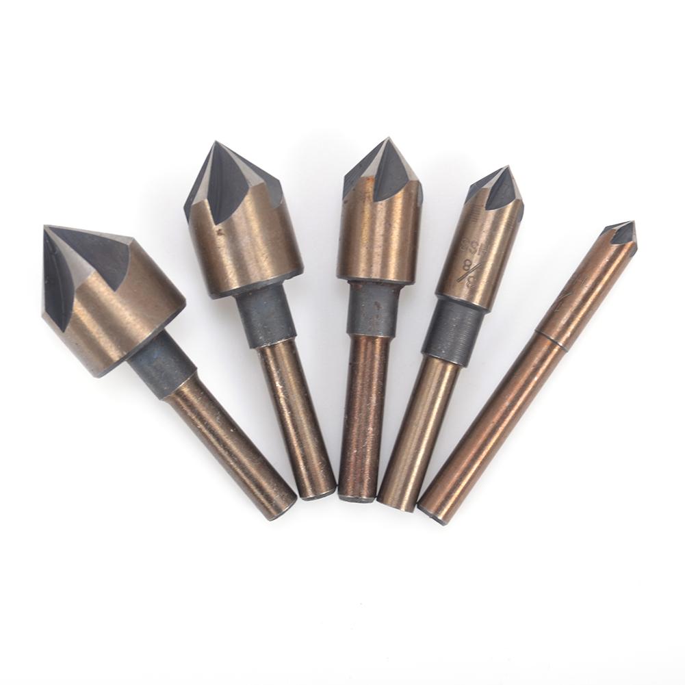 5Pcs Countersink Drill Bit Set 82°Counter Sink Chamfer Cutter 5 Flute Tools