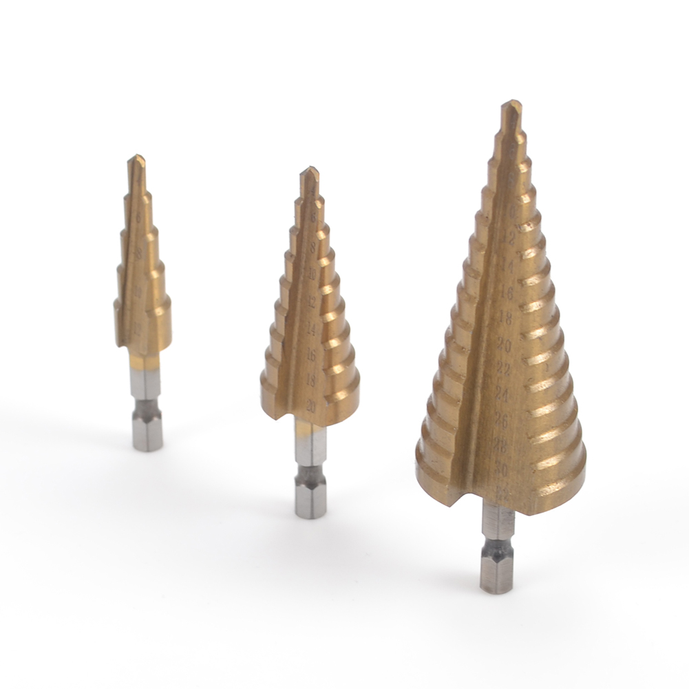 HSS Steel Step Cone Drill Titanium Bit Set Hole Cutter Hex Shank Tool