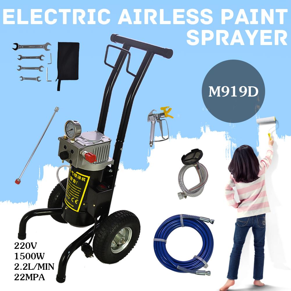 Details About 1500w 220v High Pressure Airless Wall Paint Spray Gun M919d Hq Spraying Machine